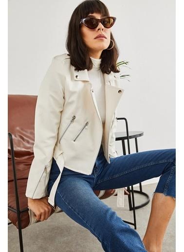 Sortee Kadın Kolları Fermuarlı Deri Ceket Beyaz